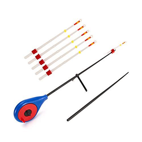 HOPQ Mini-Eisangel, für den Winter, Outdoor, Sport, tragbar, Angelrute mit Spitze, Angelzubehör, Nicht leicht zu brechen, langlebig und leicht zu transportieren 1 blau