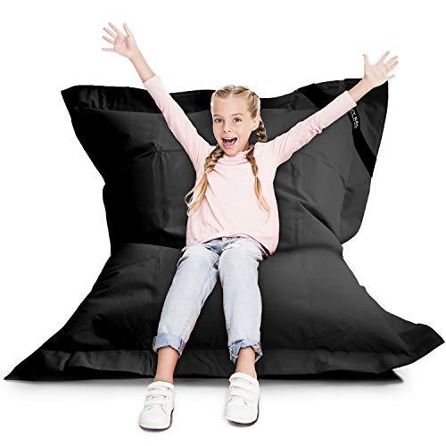 LAZY BAG Original Indoor & Outdoor Sitzsack XL 250 Liter Riesensitzsack Junior-Sitzkissen Sessel für Kinder & Erwachsene 160x120 (Schwarz)