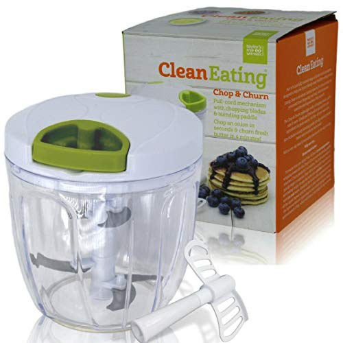 Hand Chopper Manual Food-Processor - Pull String to Slice Vegetables, Onions, Garlic, Meat, Nuts in Seconds - Curved Stainless Steel Removable Blades, Non-Slip Base, BPA-Free, Dishwasher-safe.