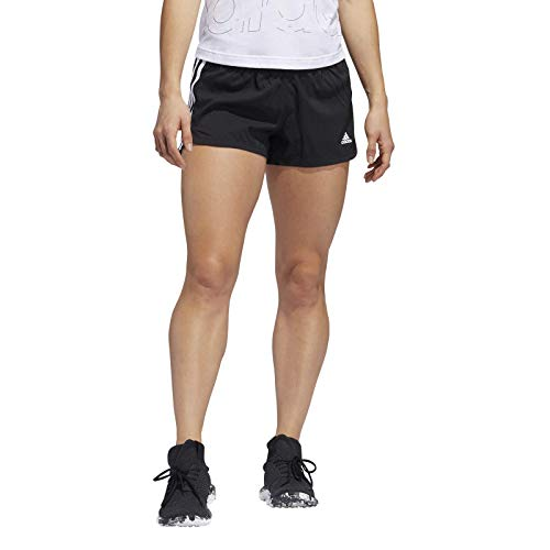 adidas Womens Pacer 3s WVN Shorts, Black/White, M