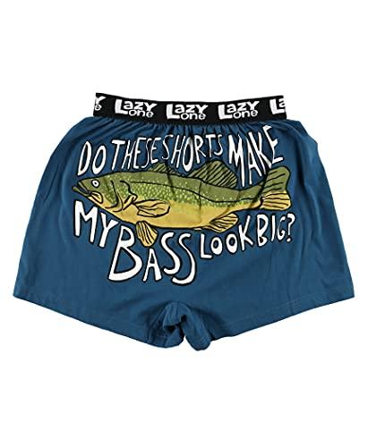 Lazy One Funny Animal Boxers, Novelty Boxer Shorts, Humorous Underwear, Gag Gifts for Men, Fishing, River, Lake (Bass, Medium)