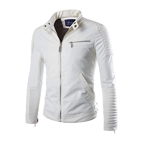Mens Classic Pleated Leather Jacket Splicing Zipper Stand Collar Imitation Tops White