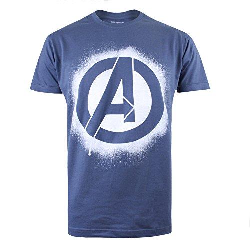 Marvel Herren Avengers Stencil Logo T-Shirt, Denim, M