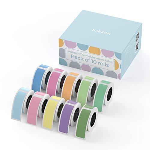 MUNBYN Thermoetiketten Regenbogenfarben selbstklebend 12 mm x 30 mm 160 Etiketten/Rolle 10 Rollen (Zehn Farben) kompatibel mit MUNBYN Bluetooth-Etikettenhersteller für Zuhause Büro