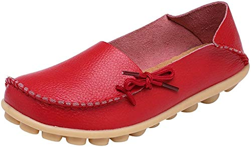 Fangsto Women's Leather Slipper Loafers Flat Shoes Slip-Ons US Size 7.5 Red