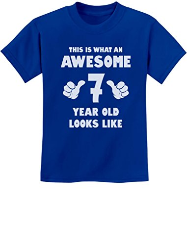 This is What an Awesome 7 Year Old Looks Like Birthday Youth Kids T-Shirt Small Blue