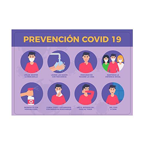 Vinilo adhesivo, Prevención Covid-19, 100x70cm, Cartel Bienvenida