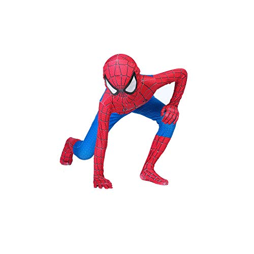 The Amazing Spider-Man Kids Bodysuit Spiderman Superhero Costumes Lycra Spandex Halloween Cosplay Costumes (110) Light Red