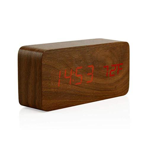 CandyTT Reloj Despertador Digital de Madera Creativo Reloj Despertador LED Multifuncional Elegante con Control de Voz de Fuente de alimentación USB (Madera marrón)