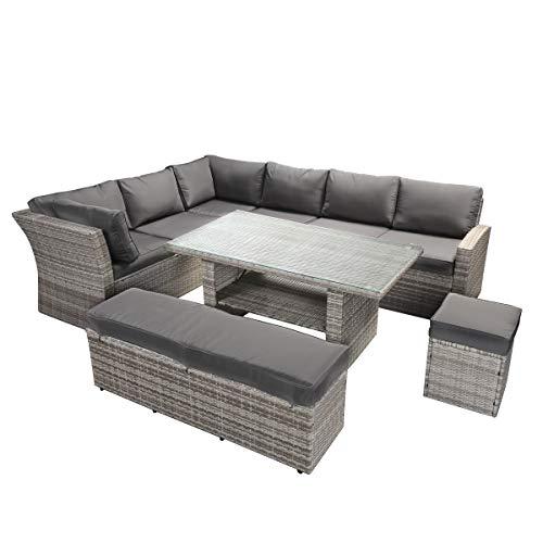 BRAST Poly-Rattan Gartenmöbel Essgruppe Lounge Set Sitzgruppe Outdoor Möbel Garten Garnitur Sofa Holidays Grau Anthrazit - 8