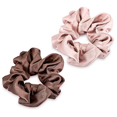 Navaris 2x Coletero de seda para pelo - Gomas para el cabello forradas en tela - Pack de 2x cinta elástica para moños trenzas - Scrunchies marrón
