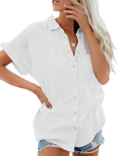 Lantch Damen Bluse Shirt Sommer Hemdbluse Kurzarm Hemd Tops Frauen Oberteile T-Shirt (wh,l)