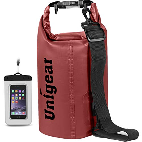Unigear Dry Bag Waterproof, Floating and Lightweight Bags for Kayaking, Boating, Fishing, Swimming and Camping with Waterproof Phone Case (Red, 2L)