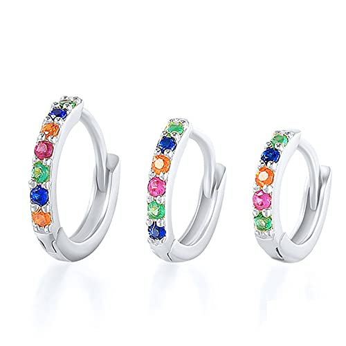 MHXQD Silver Hoops Earrings for Women, 925 Sterling Silver Huggie Hinged Earrings with Cubic Zirconia, Hypoallergenic Small Sleeper Hoops, 3 Sizes,Silver,6mm