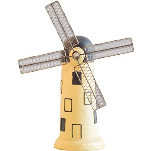 Hucha de Colección, creativo resina de la vendimia de color blanco lechoso molino de viento holandés adornos para la decoración del hogar retro hace los ornamentos a la colección del regalo,Beige
