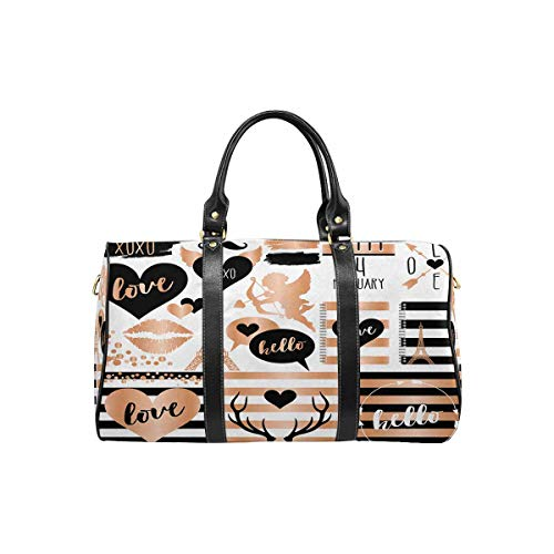 InterestPrint Weekender Bag Overnight Carry-on Tote Duffel Bag Rose Gold Foil and Slate