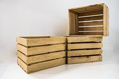 Set 3 Cajas Grandes Naturales Sam, Madera, Decoración,Almacenamiento, Beige, 50x40x30cm. Incluye Imán Personalizable de Regalo. …
