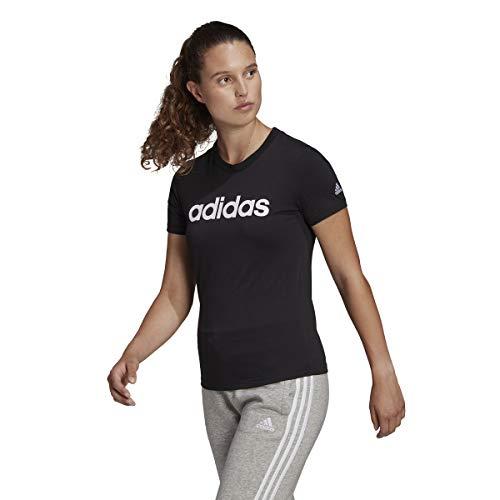 adidas Damen Essentials Linear T Shirt, Schwarz/Weiß, XL EU