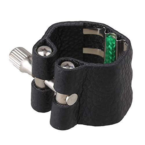 Jiayouy Artificial Leather Clarinet Mouthpiece Ligature Fastener Compact Durable Black