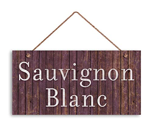 """MAIYUAN Sauvignon Blanc Wine Sign, Distressed Wood Style, 5""""x10"""" Tuscan Decor, Wine Bar Sign, Rustic Signs Style"""
