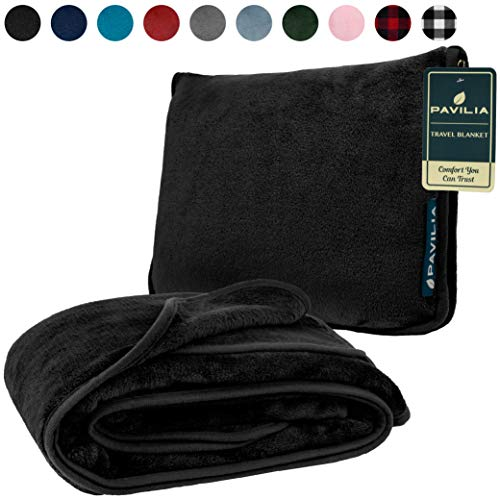 PAVILIA Fleece Travel Blanket Pillow | Large Portable Airplane Blanket with Luggage Strap | 2-in-1 Foldable Blanket for Travel, Use as Blanket for...