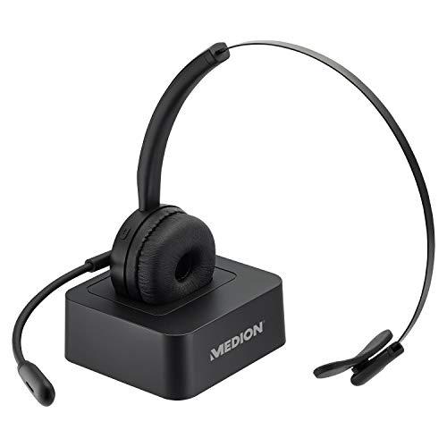 MEDION E83279 Bluetooth Mono Headset (inkl. Ladestation, Flexibles Mikrofon, integrierter Akku, individuell Einstellbarer Bügel, weiche Ohrpolster, Plug & Play)