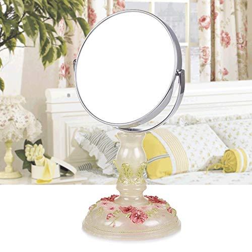 GBX Espejo Pequeño de Maquillaje, Espejo de Maquillaje de Princesa Mesa de Tocador Simple Espejo de Dos Lados de Alta Definición de 7 Pulgadas Moda de Jardín Espejo Creativo Delicado Moda Creativa He