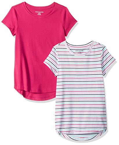 Amazon Essentials   Girls' 2-Pack Tunic Top, Stripe/Pink XS (4-5)