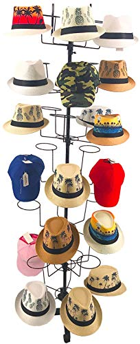 Buha Hat Racks, Rotating Metal Hat Display Stand, 7 Tier Cap Displayer with 35 Metal Hooks
