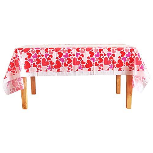 BESTOYARD Nappes jetables avec couvercles de Table en Plastique de Coeur pour la décoration de Table de fête de Saint Valentin (Rouge)