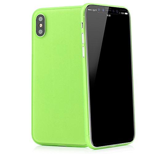 QUADOCTA Custodia Premium Ultra Slim per iPhone X, iPhone XS (5,8') - Conchiglia Protettiva - Tenuis in Verde - Ultra Sottile - Cover Smart Leggermente Trasparente - per iPhone 10 (Qi Compatibile)