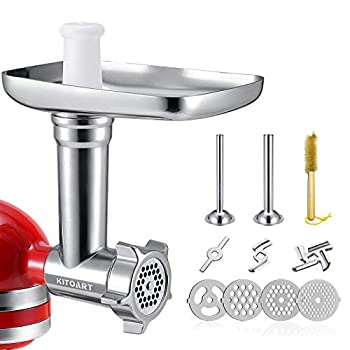 Metal Food Grinder Attachments for KitchenAid Stand Mixers Meat Grinder Sausage Stuffer Includes Two Sausage Stuffer Tubes Durable Perfect Attachment for KitchenAid Mixers Sliver