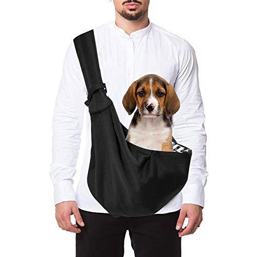 Interlink_UK Tragetasche für Haustiere, Tragetuch Fuer Hunde Katzen Single Schulter Hundetragebeutel, Schultertasche Verstellbare Gepolsterte Schultergurt mit Fronttasche Hundetragebeutel (Schwarz)