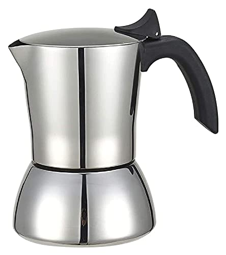 XYLXJ Maker Moka Pot - Cafetera de café espresso de acero inoxidable para cafetera (color: plata, tamaño: 6 tazas)