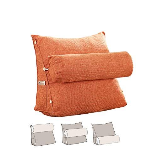 L/S Orange Rückenkissen Sofakissen mit Nackenrolle Bücherkissen Lesekissen Bett Sofa Dreieck Rückenlehne Rückenstützkissen Fernsehkissen mit Nackenkissen