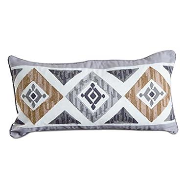 Rod's Grey Diamond Embroidered Pillow