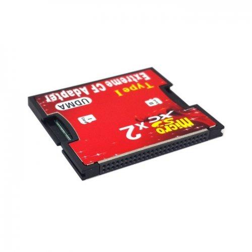 Doble ranura TF o microSD Micro SD a tipo I adaptador de lector de tarjeta Compact Flash...