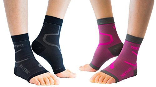 Thirty48 Plantar Fasciitis Socks, 20-30 mmHg Foot Compression Sleeves for Ankle/Heel Support, Increase Blood Circulation, Relieve Arch Pain, Reduce Foot Swelling (Black & Pink (2 Pairs), Medium)
