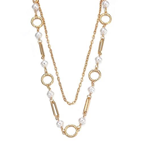 ZYLL Collar de Perlas simuladas barrocas, declaración de Cadena de Palanca para Mujer Gargantilla para Mujer Moda 2021 Joyería de Tendencia Regalo del día de la Madre
