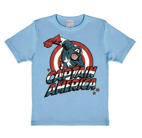 Logoshirt - Camiseta de Capitán América para bebé, talla 2-3 Years - talla inglesa, color Azul claro