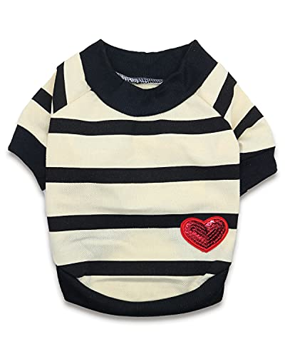Dog Striped Shirt for Small Dogs Boy Dog Tshirt French Bulldog Terrier Clothes for Boys, Small, Light Yellow