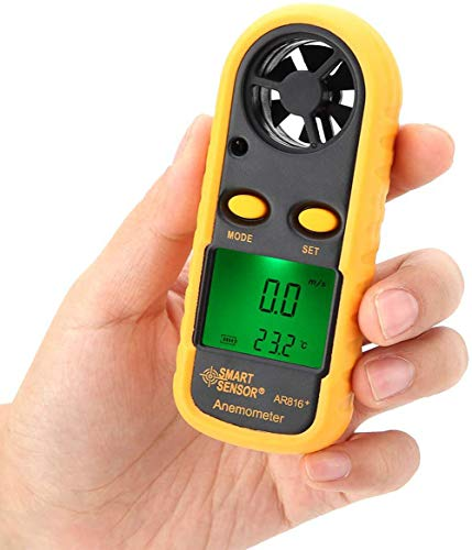 BIKEULTIMATE Digital-Anemometer, Hand Precise Windgeschwindigkeit Messgerät Meter Air Flow Tester mit LCD-Display für HVAC, Drone Fliegen, Surfen, Angeln