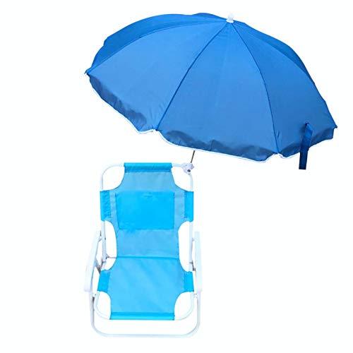 lefeindgdi Silla de sombrilla para niños, juego de tumbonas para niños, sillas de playa y paraguas al aire libre, playa plegable multifuncional portátil para verano
