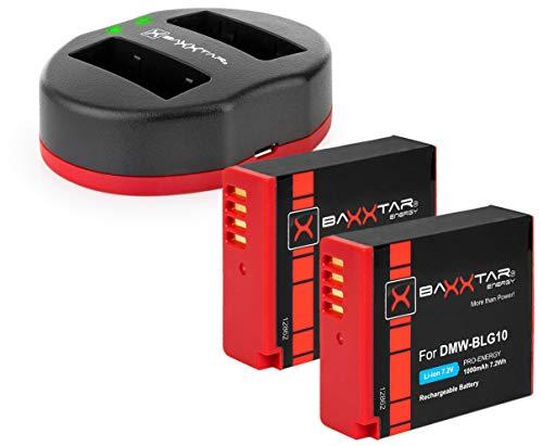 Baxxtar Pro - 2X (1000mAh) reemplazo para la batería Panasonic DMW BLG10 E con Twin Port 1834 - para Lumix DC LX100 II GX9 TZ200 TZ95 TZ90 DMC TZ100 TZ80 GF6 GX7 GX80 LX100 S6 etc.
