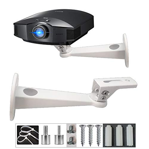 """Universal Mini Projector Wall Mount Length 7.9"""" Rotation 360° Tilt 60° Load 7.8 lbs with Screw Thread Adapters Cable Management White Coating Thick Steel as CCTV DVR Camcorder Camera Wall Mount"""