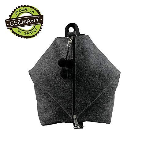 filzMAXX Backpack MINA - milieuvriendelijke vilten rugzak dames en heren van 100% natuurlijke merinowol I Lichte dagjesrugzak van vilt made in Germany 27 x 34 x 12 cm donker gevlekt