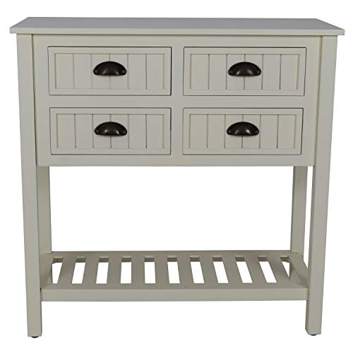 Decor Therapy Bailey Bead board 4-Drawer Console Table, 14x32x32, Antique White