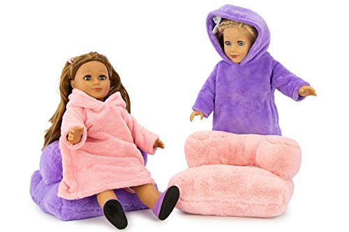 """Playtime by Eimmie 18"""" Doll Set - Blanket Sweatshirt and Plush Chairs Set - Doll Accessories for 18"""" Dolls - Soft, Plush Doll Furniture"""