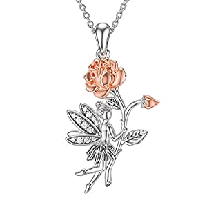 flower fairy necklace 925 sterling silver flower girl rose pendant necklace fairy with angel wings jewelry gift for princess girls women