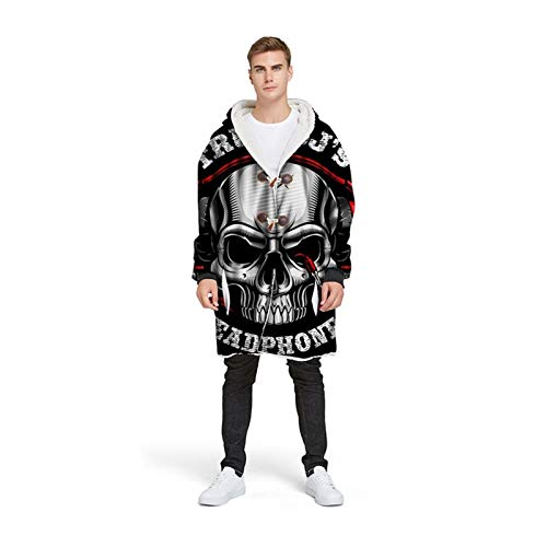 Manta con capucha de cráneo de azúcar 3D personalizada con manga de invierno espesando bocina chaqueta de botón para hombres Manta portátil Halloween (Color : Type 21, Size : XL)